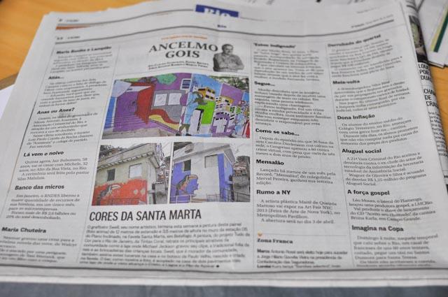 El mural de Swell ha salido el el diario O Globo